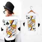 Women's Harajuku Poker Pullover Sweatshirt Long Sleeve Blouse Tops T-shirt EA