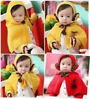 Adorable Cute Child Childrens Kids Knitted Cape Cloak Shawl Riding Hood Set