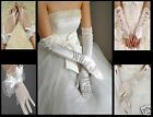 Ivory Bridal Wedding Gloves Fingerless Satin Lace Prom Long Elbow One Size: Reg