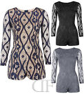 NEW LADIES WOMENS EVENING LACE PATTERNED LONG SLEEVE PARTY PLAYSUIT (SIZES 8-14)