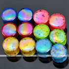 12pc Mix Color 4-20MM Dot Acrylic Double Flare Ear Tunnels Plugs Flesh Expander