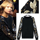 Lady Women Sweaters Sweats Hoodie Coat Wool T-shirt Sequin Round Neck Tee Shirt