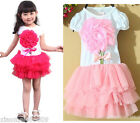 Girls-Dress-Tutu-Tull-Pink-rose-red-Dancing-Party-Kids-Clothes-Pricess-dress