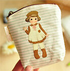 Women Girl Doll Canvas Case Coin Bag Card Credit Key Purse Wallet Makeup Pouch n