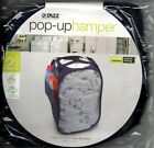 Pop Up Laundry Hamper Dazz 2 Load Flex Frame Dorm Mesh Folding Solid Color NEW