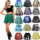 Womens Girl Stretch High Waist Skater Flared Pleated Sexy Mini Short Skirt Dress