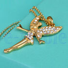 18K Yellow / White Gold Plated Cristal Charm Angel Girl Pendant Long Necklace EW