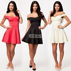 Womans ladies mini dress sexy new party bodycon 3 Colours off shoulder top B5UT