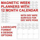 Magnetic Week Planner with 12 Month Calendar with Dry Wipe A4 Size Fridge Magnet