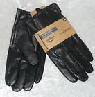 Dockers gloves Leather Lined black micro terry winter Man's size L, XL NEW
