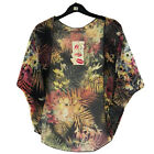 Girls Batwing Open Front Kimono Blouse Cardigan Floral/Leaf Print 7-13 Years