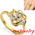 Stainless Steel Golden 3D Stereo CZ Crystal Promise Ring Anniversary Gift