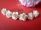 6 LARGE 25mm ROSE HAIR PINS GRIPS FLOWER WEDDING BRIDESMAID ACCESSORIES
