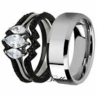 His Tungsten Hers 4 Piece Black Stainless Steel Wedding Engagement Ring Band Set