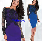 Women Cocktail Sexy Lace Off the Shoulder Bodycon Wedding Party Prom Dress 803