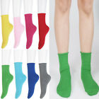 Women Ladies Girls Roll Top Solid Colour Ankle High Cotton Socks 1 prs or 5 LOT