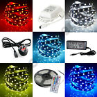 5050 5M SMD RGB LED Light Strip + Power Supply Adapter+ IR Remote+Pin Connector