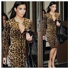 2015 Leopard Sexy Keyhole Women Autumn Winter Wiggle Tunic Club Party Dress Y702