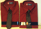Boys Chaps Brand Sienna Red Dress Shirt includes Clip on Tie Size  4  5