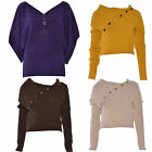 Women Ladies Long Sleeve Button Cable Knitted Knit Jumper Top Sweater 8-12