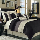 Luxury Stripe Bedding Black Grey and White King Size 12 Piece Bedding Set