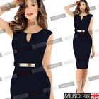 Ladies Sleeveless Pencil Style Bodycon Cocktail Party Knee Dresses Size 681024