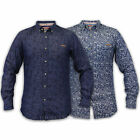 Mens Denim Shirt Tokyo Laundry Floral Flowers Print Collared Long Sleeved New