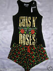 GUNS N ROSES LADIES PYJAMA SET OFFICIAL COTTON VEST TOP AND SHORTS BNWT PRIMARK