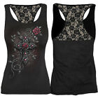 Spiral Direct Angel Beads Red Rose Rosary Cross Racer Back Lace Gothic Vest Top