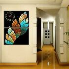 Contemporary Art Wall Clock On Canvas Prints Set Of 2 READY TO HANG