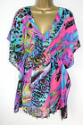 Boutique Sz S M L Coin Trim Animal Print  Kaftan Top Black Pink Turquoise
