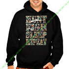 New HUNTING FISHING SLEEP REPEAT Black Hoodie Sweatshirt mossy oak camping camo