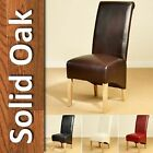 6 Leather Dining Chairs Scroll Back Oak Legs Furniture