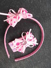 Girls pink or lilac Hair Band Headband Wedding Flower girl ribbon bow
