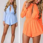 New women Solid  Jumpsuit long-sleeve Sexy Casual mini Playsuit  Shorts Party