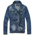 SJ144 New Men's Jeans Biker Bomber Button Washed Casual Denim Jackets Outerwear