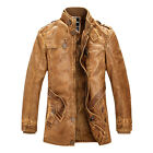 NEW STYLE Mens Military Faux Leather Jacket Coat Warm Long Jacket Outerwear Tops
