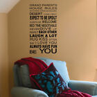 EXTRA LARGE QUOTE IN THIS HOUSE GRAND PARENTS RULES FAMILY WALL STICKER DECAL