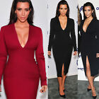 Vintage deep V Formal Women Evening Party Sheath Frong Split Bodycon Dress 826