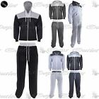 New Mens Quilted Zip Up Jacket Sweatpants Hooded Contrast Fleece Tracksuit Set