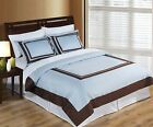 Wrinkle Free Egyptian cotton Hotel Blue/Chocolate Duvet cover set
