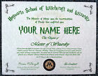 Harry Potter Hogwarts Diploma Certificate Any Name for your own Witch or Wizard