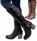 Ladies Block Heel Womens Knee High Calf Buckle Chunky Grip Sole Boots Shoes Size