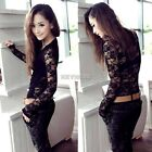 Women's Sexy Long Sleeve Hollow Lace Blouse Bottoming Shirt Evening Party Tops K