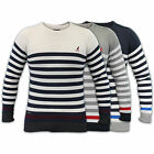 Mens Jumpers Kangol Knitted Top Sweater Pullover Striped Crew Neck Cotton Winter