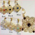 CLIP ON 1.25in Faux Pearl Rhinestone Dangle Non-Pierced Earrings Choose Color