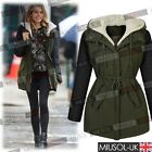 Womens Ladies Hooded Zipper Parka Tops Winter Warm Long Jackets Coats Size 8-18