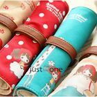 Good Cute Girl's Canvas Student High-capacity Foldable Pencil Case Pen Bag Gift