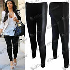 Womens Ladies Wetlook PVC Side Panel Faux Leather Stretchy Leggings Bottom Pants