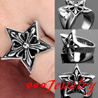Gothic 316L Stainless Steel Men Lucky Star Fleur De Lis Finger Ring Biker US9-13
